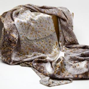Spur leaf tree bark 100% silk scarf