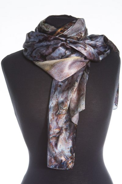 Black Pine Tree Bark 100% Silk Scarf by Howard Guest