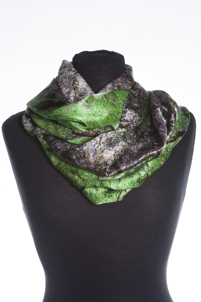 Horse Chestnut Tree Bark 100% Silk Scarf Made in Britain by Howard Guest