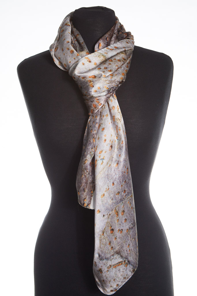 Spur Leaf Tree Bark 100% Silk Scarf by Howard Guest