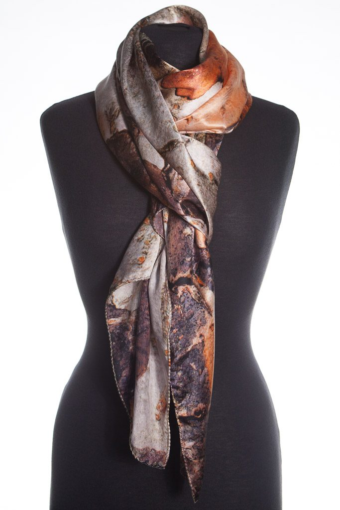Yunnan Crabapple Tree Bark 100% Silk Scarf Made In Britain by Howard Guest