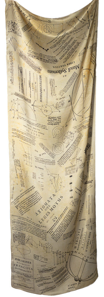 The Isaac Newton Scarf by Howard Guest. Designed from images from Isaac Newton's copy of the Principia printed on 100% silk and Made in Britain.