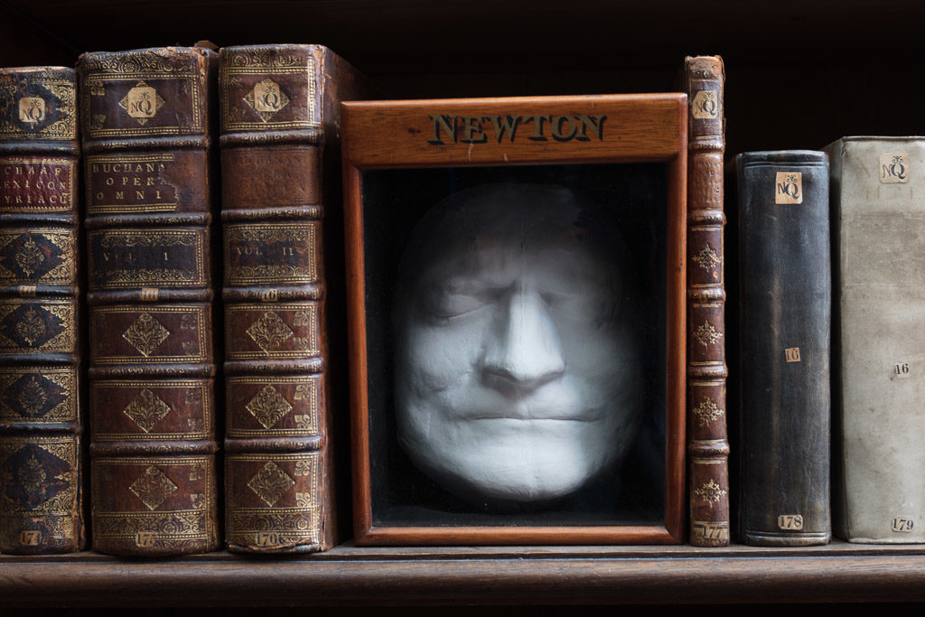 Isaac Newton's death mask in the Wren Library, Trinity College, Cambridge