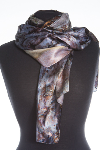 The Black Pine Silk Scarf, corals and pinks greys and exquisite shimmering colours. Made in Britain.
