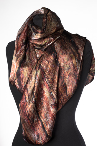 The Xu Zhimo Willow Bark Scarf. Made in Britain featuring a close=up photograph of the bark of a willow at King's College, Cambridge and featured in Zhimo's poem, On Leaving Cambridge Again.