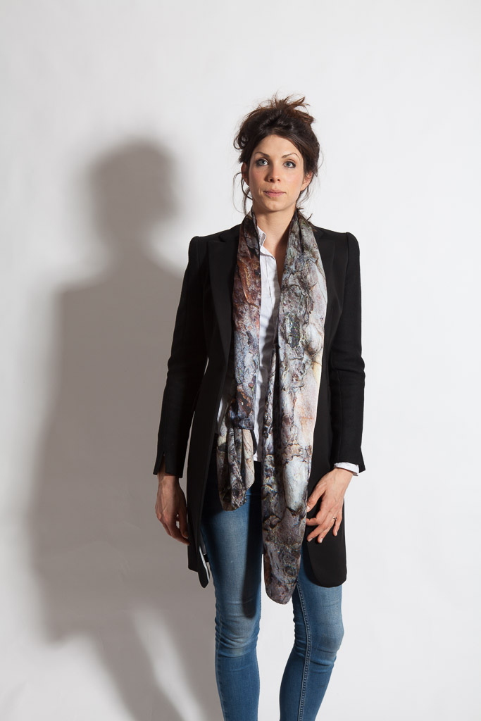 The 100% silk Black Pine Scarf. Designed by Howard Guest and Made in Britain.