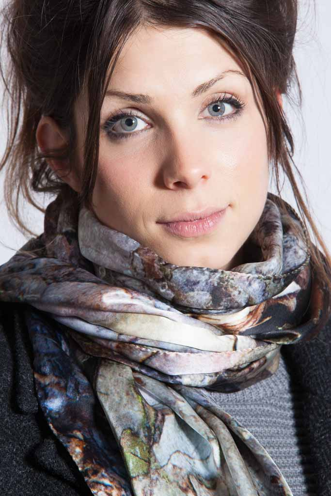 The Black Pine scarf all pinks and corals, greys and shimmering silvers