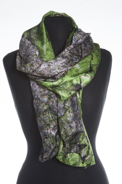 Horse Chestnut Tree Bark 100% silk scarf by Howard Guest