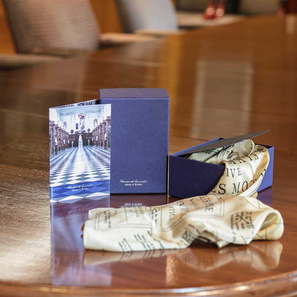 The Newton Scarf by Howard Guest with box and pamphlet. Designed with images from Isaac Newton's copy of the Principia printed on 100% silk and Made in Britain.