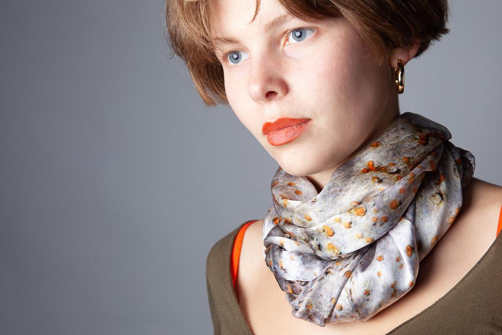 Spur Leaf Tree Bark 100% silk scarf by Howard Guest
