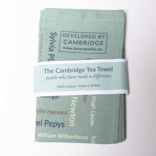The Cambridge Tea Towel features about 200 names of people who have made a difference.