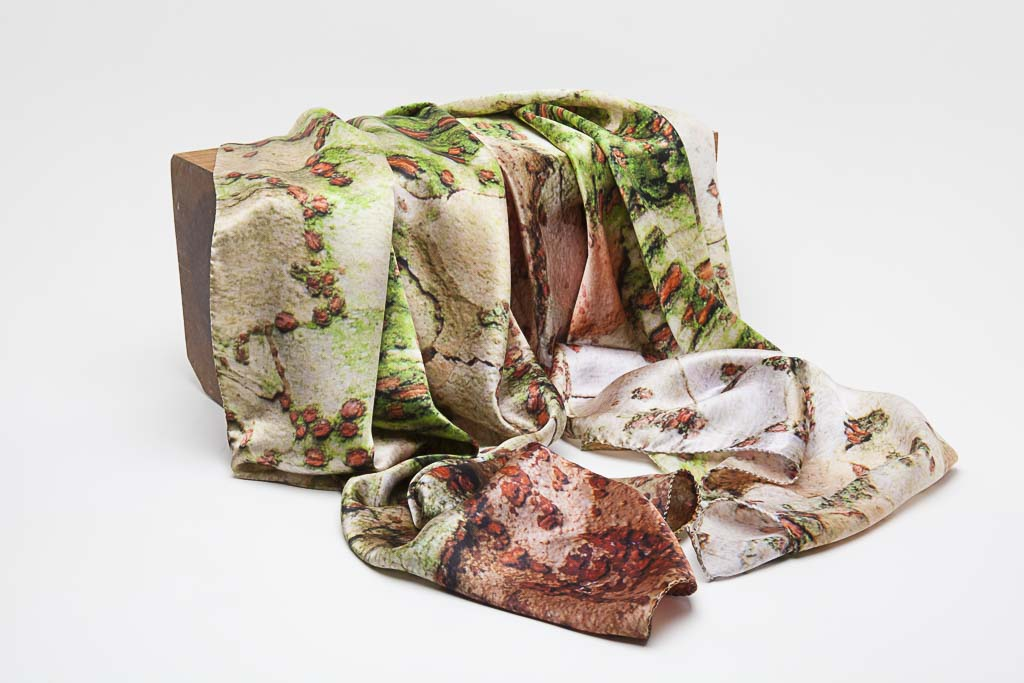 The Chinese Zelkova Silk Scarf by Howard Guest - all greens and corals, delicate and silky