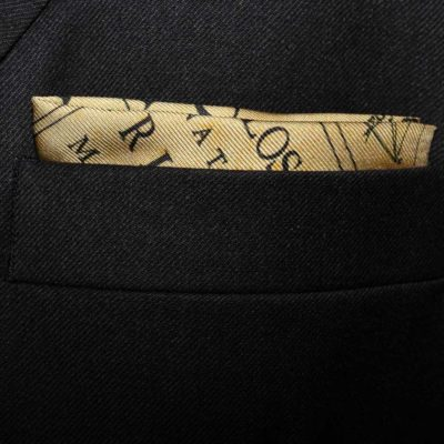 Newton Silk Pocket Square featuring Newton's diagrams, text and annotations from the first edition of the Principia