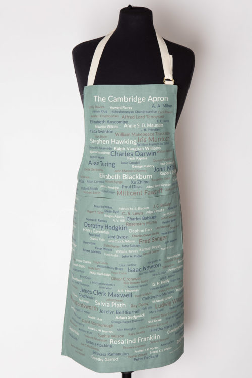Light Blue Bib Apron featuring over 200 names of people who have made a diffenece to all our lives