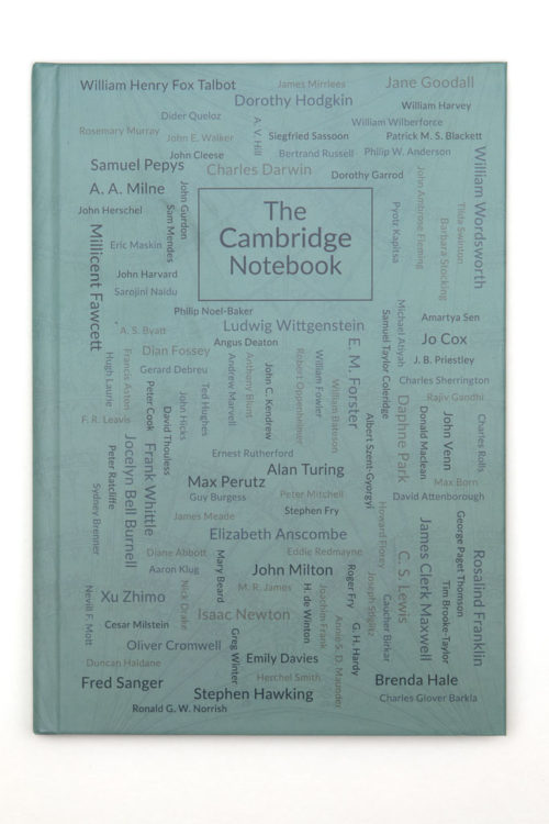 The Cambridge Notebook spines - the cover includes Hawking, Jo Cox, Jane Goodall amongst over 200 other people that have changed our lives