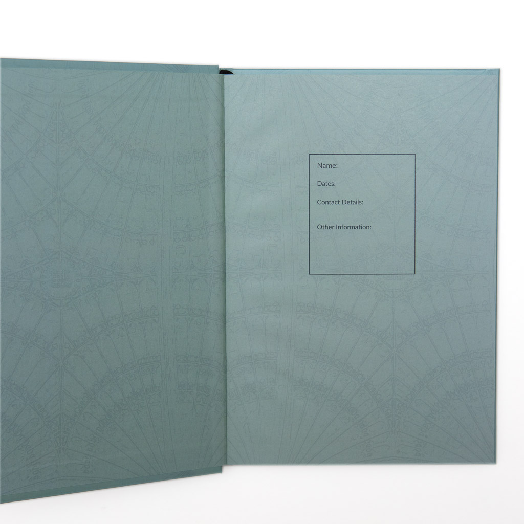 The Endpapers of the Cambridge Notebook feature a design based on the fan roof of King's College