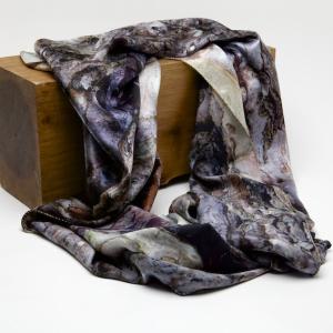 Black pine bark 100% silk scarf