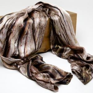 swamp cypress tree bark 100% silk scarf
