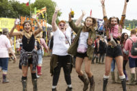 jumping up and down at Glastonbury festival 2016