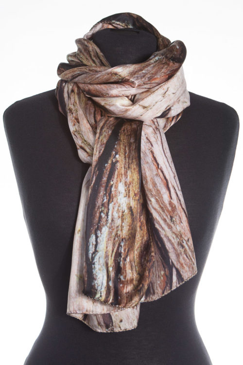 Swamp Cypress Tree Bark 100% Silk Scarf