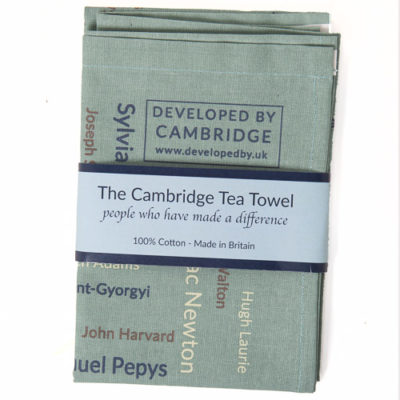 The Cambridge Tea Towel features over 200 names of individuals who have made a difference to our lives by their contribution across a broad range of endeavours including the arts, the sciences, in sport and in politics. Made in Britain from 100% cotton.